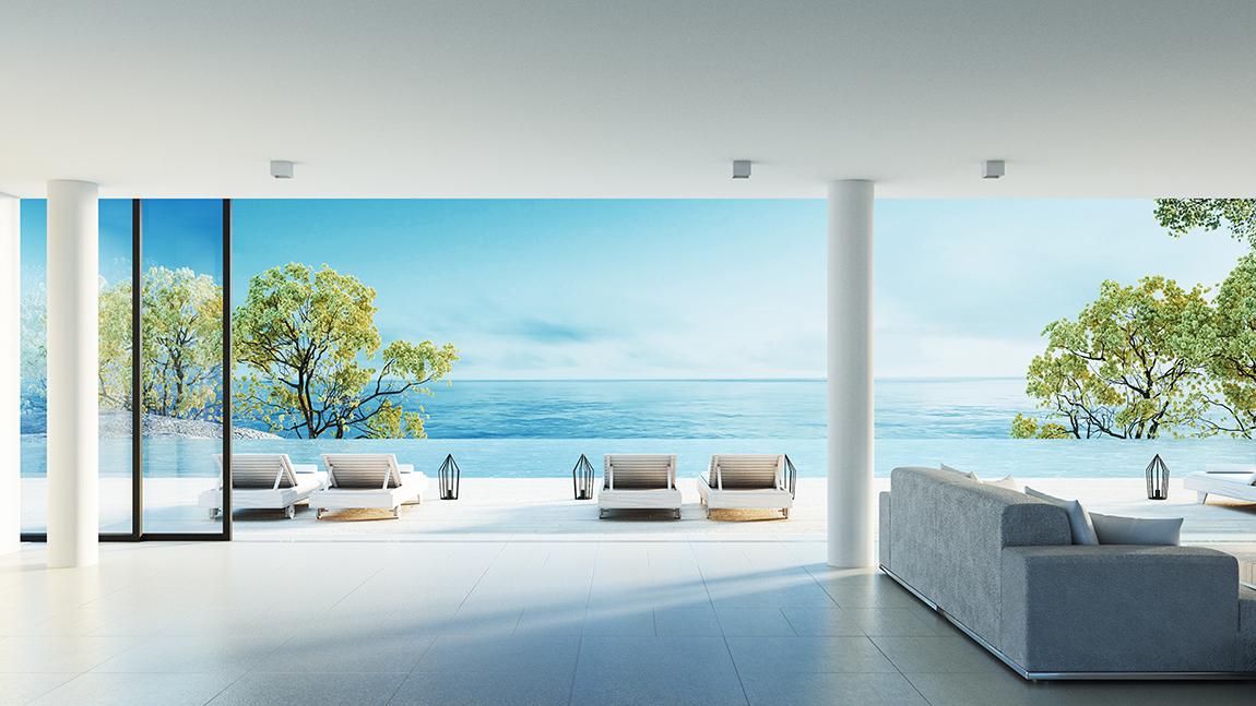 海が見える家からの風景の画像